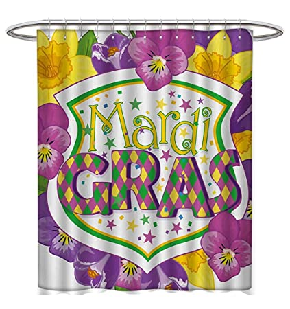Anhuthree Mardi Gras Shower Curtains 3D Digital Printing Blazon With Flourishing Colorful Flowers Coat Of Arms