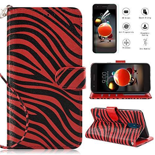 LG Aristo Case,LG Rebel 2 LTE/LG Rebel 3 LTE/LG Phoenix 3/LG Fortune/LG Risio 2/LG K8 2017 Wallet Case w Screen Protector,Kickstand Card Slots Wrist Strap Magnetic Flip PU Leather Zebra Cover,Red ()