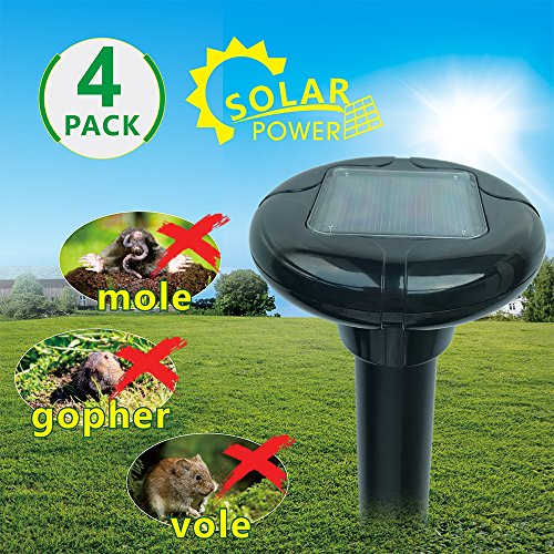 Aluminum Tube Stakes - LOMEREY 4 Pack Sonic Mole Repellent Solar Powered Gopher Repellent Ultrasonic Vole Chaser Rodent Deterrent Sonic Spike for Lawn Yard Garden Outdoor Pest Control