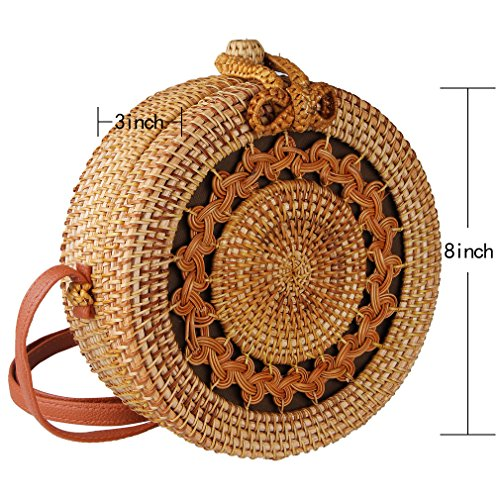 Partrisee Rattan Shoulder Tote bag Round Straw Crossbody bag Handwoven by Bali Artisans for Women by Partrisee (Image #6)