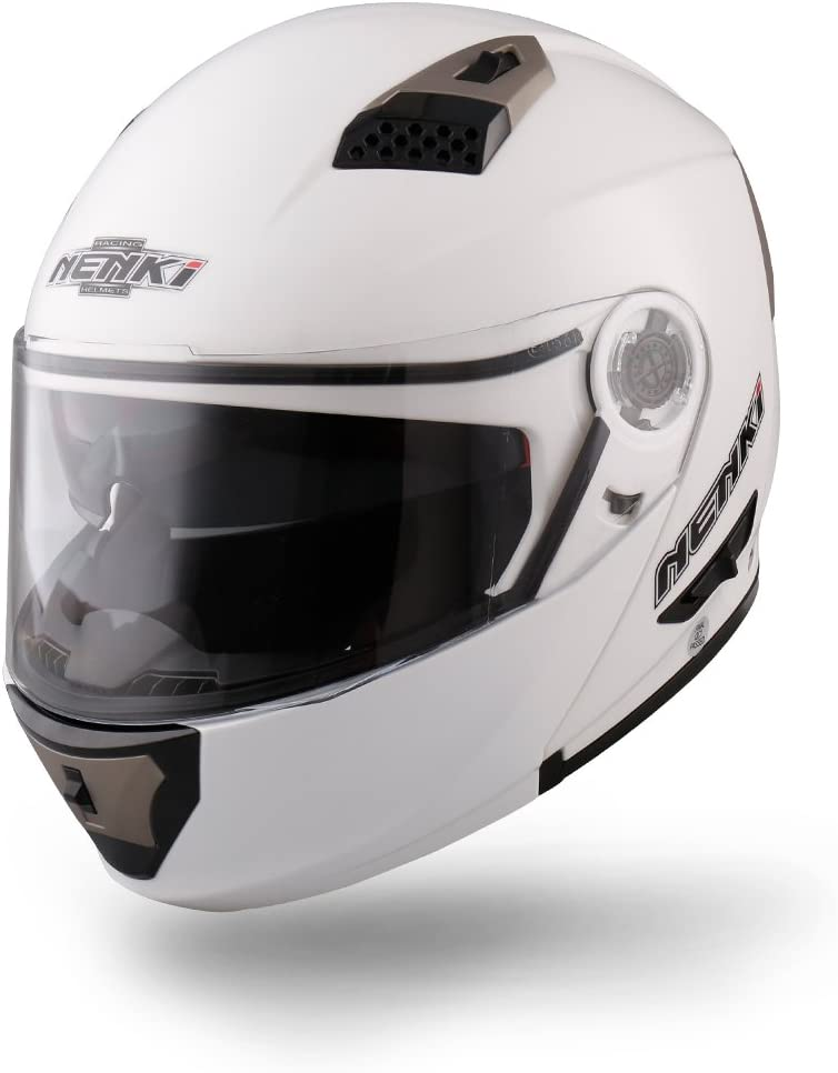 integrale modulare NENKI NK-860 Casco per moto e scooter White, Large apribile