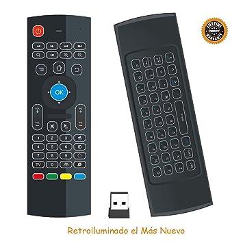HORIZONTAL Mini Ratón Retroiluminado Teclado Inalámbrico Combinado 2.4G Portátil Multi-media Remoto con Ratón Táctil para Windows, Android / Google / Smart TV, Linux, Windows, Mac, Frambuesa PI (Negro): Amazon.es: Electrónica