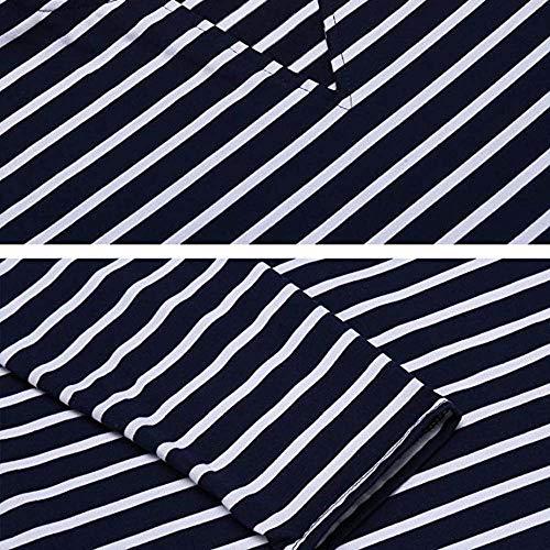Et Hiver Femme Dcontracte Femme Longues Manteau Chemise Blouse Blanche Rawdah Taille Manches Noir Grande Rayures Irrgulires w7qEXSCp