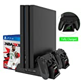 OIVO Cooling Fan Compatible with Regular PS4/ PS4 Pro/ PS4 Slim, Controller Charging Dock Station with Cooler Vertical Stand, Dual Controller Charger with LED Indicators and 12 Games Storage (Color: Black)