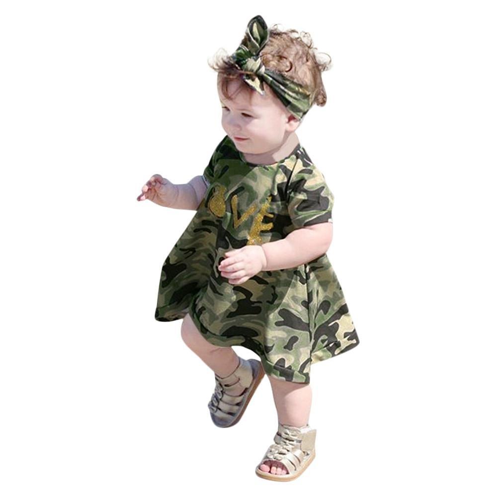 Matoen Baby Kids Girls Camouflage Casual Dress+Headband Sundress Clothes