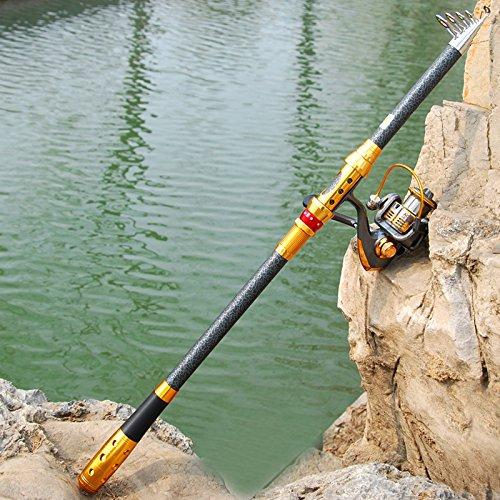 haotreasure スピンSpinning伸縮釣りロッドとリールコンボカーボンロッドとリールコンボ海海水淡水キット釣りロッドキット B01N6B77V5 3.0m ブルー ブルー 3.0m