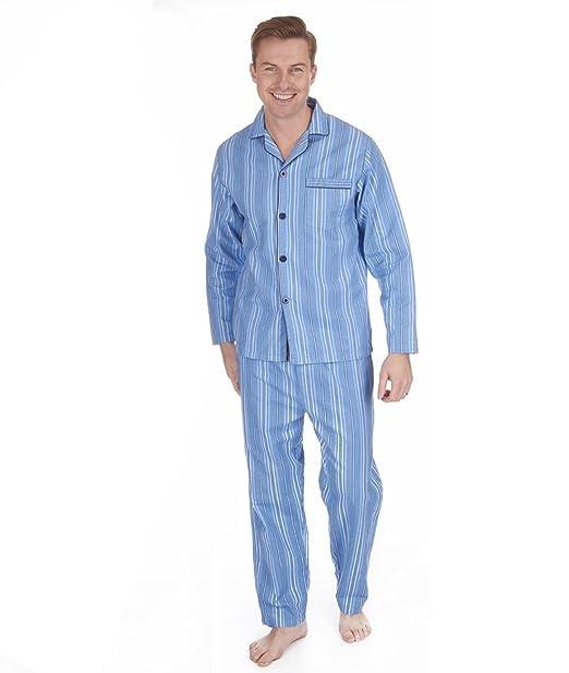 Pijama de invierno para hombre, 100 % algodón cepillado, de cá