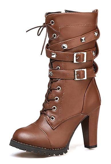 4a39978e20cbe8 SHOWHOW Damen Modern Nieten Biker Boots Stiefel mit Absatz Stiefelette  Braun 47 EU