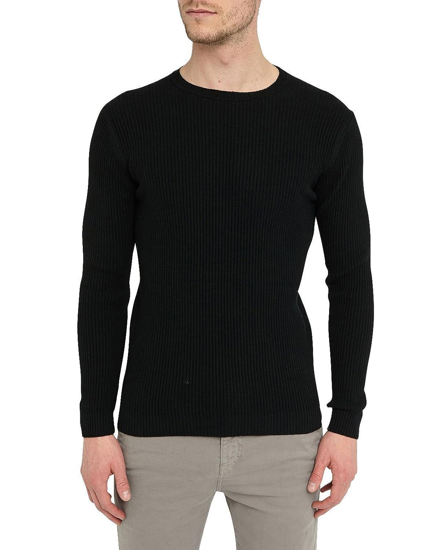 M.STUDIO - Crew-neck Sweaters - Men - Black Matthis Rib-Knit Round-Neck Sweater for men