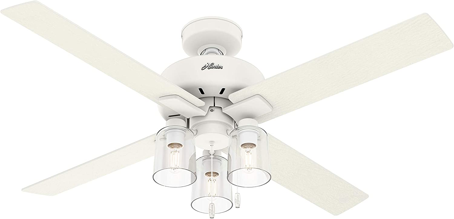 "Hunter 50322 Pelston Ceiling Fan with LED Light and Pull Chain, 52"", Matte White"