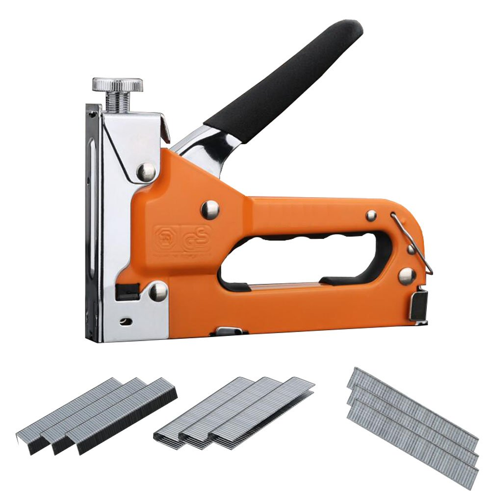 3-in-1 Staple Gun Kit - Hand Operated Stainless Steel Stapler Brad Nailer Gun with 600 Staples Attached by Apoulin