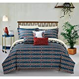 10 Piece Yellow Gold Blue African Themed Comforter King Set, Hippie Pattern Bedding Tribal Native American Africa Bohemain Boho Artistic Spice Red Diamond Reversible Southwest, Microfiber Polyester