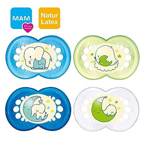 Mam Night Original Látex Chupete 16 +//Juego De 4//Incluye 2 ster ilisi ertra port Cajas