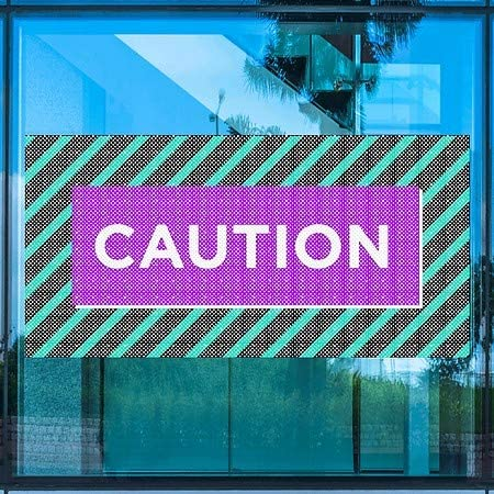 Modern Block Perforated Window Decal Caution 96x48 5-Pack CGSignLab