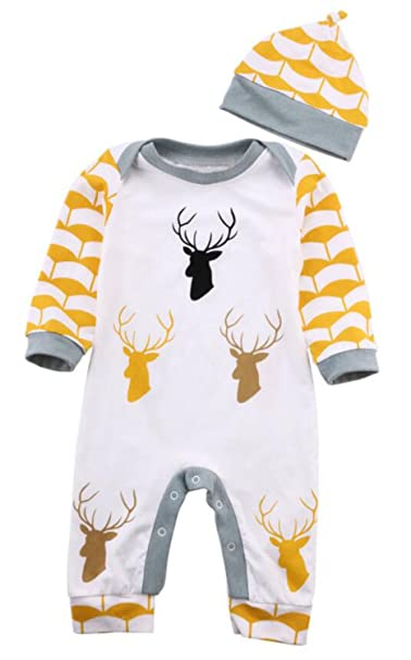 FIZUOXVE Infant Girls Boys Long Sleeve Cute Deer Printed One-Piece Romper  Jumpsuit Outfits with 252a3758a67d