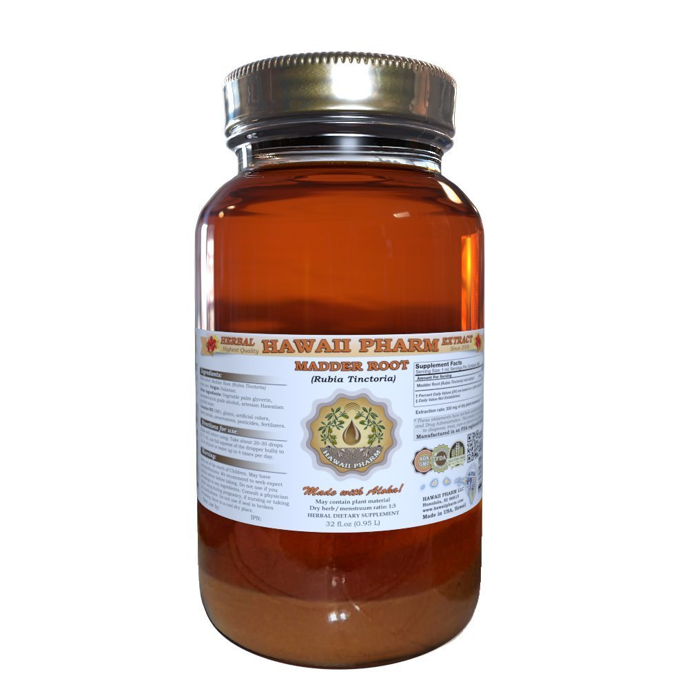 Madder Root Liquid Extract, Madder Root (Rubia Tinctoria) Dried Root Tincture Herbal Supplement 32 oz Unfiltered