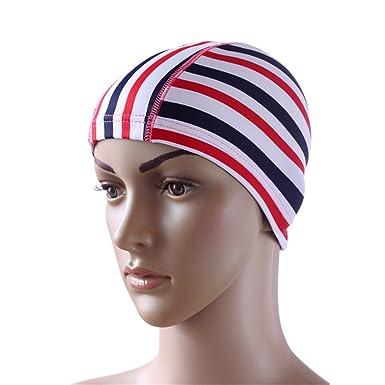 db8c21704c6 Elastic Waterproof PU Fabric Protect Ears Swim Hat Swimming Cap One size   Amazon.co.uk  Clothing
