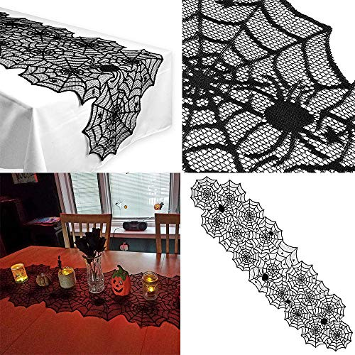 (Table Runner Clearance , Halloween Polyester Lace Dinner Parties Table Runner Black Spider Web Restaurant Decor)