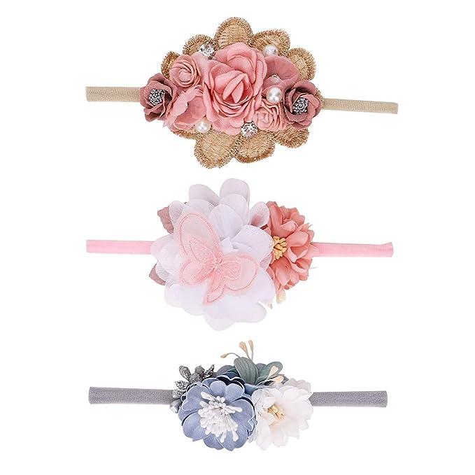 Baby Girls Floral Hairband Nylon Elastic Bow Headband for Newborn Infant Toddler