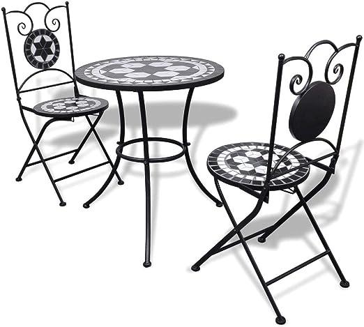 honglianghongshang Muebles de jardín Conjuntos de jardínSet de Mesa y sillas de jardín 3 Piezas Mosaico Blanco y Negro: Amazon.es: Hogar