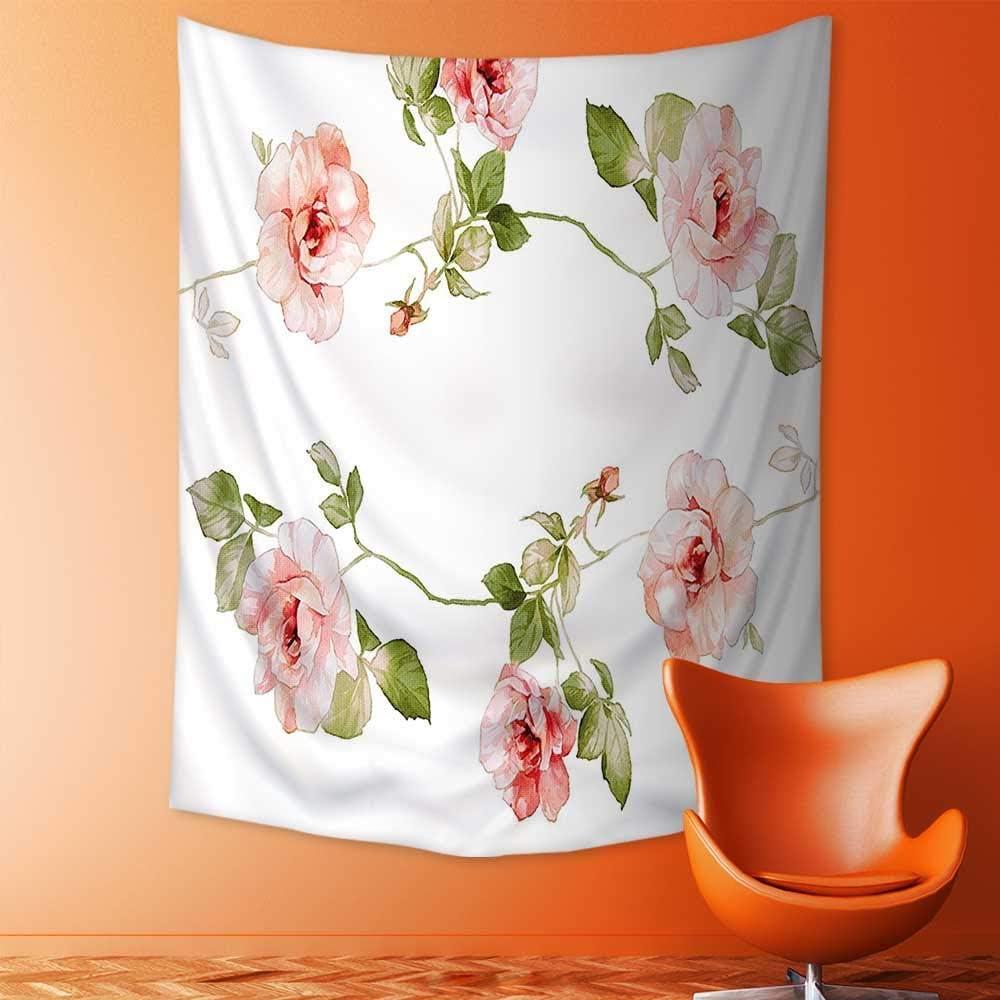 DEIDRE CHAMBLISS Mandala Tapestry Wall Tapestry Bohemian Wall Hanging Rose Flower Petals Shabby Chic Kitsch Love Blooms Design Reseda Green Peach Coral Wall Art Wall Decor Beach Tapestry 100x150 cm