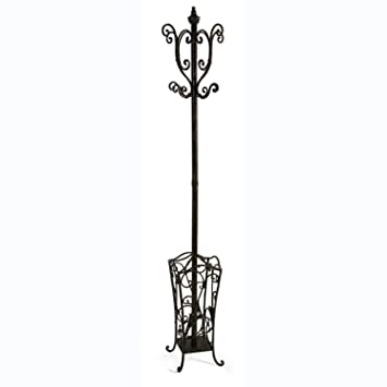 40 AntiqueStyle Scrolling Wrought Iron Vestibule Coat Rack With Fascinating Coat Rack And Umbrella Stand Antique White