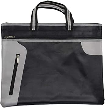 Color : Blue Canvas Waterproof Portable File Bag Business Briefcase Meeting Storage Bag Zipper Information Bag