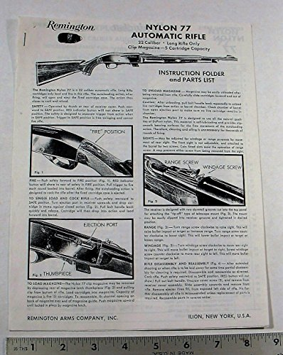 REMINGTON GUN OWNER'S MANUAL - MODEL: NYLON 77 AUTO 22 RIFLE (Owners Manual Pistol)