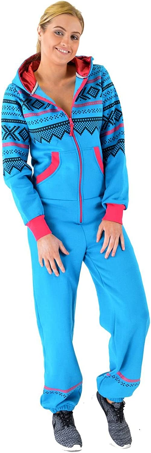 My Mix Trendz Womens Ladies Aztec Printed Thick Warm Fleece Zipper All in One Piece Cuffed Suit