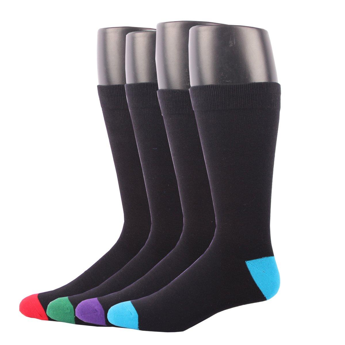 RioRiva Men's Dress Socks Mid Calf Crew Tube Socks for Business Grey Black Navy,BSK05 - Pack of 4,One Size