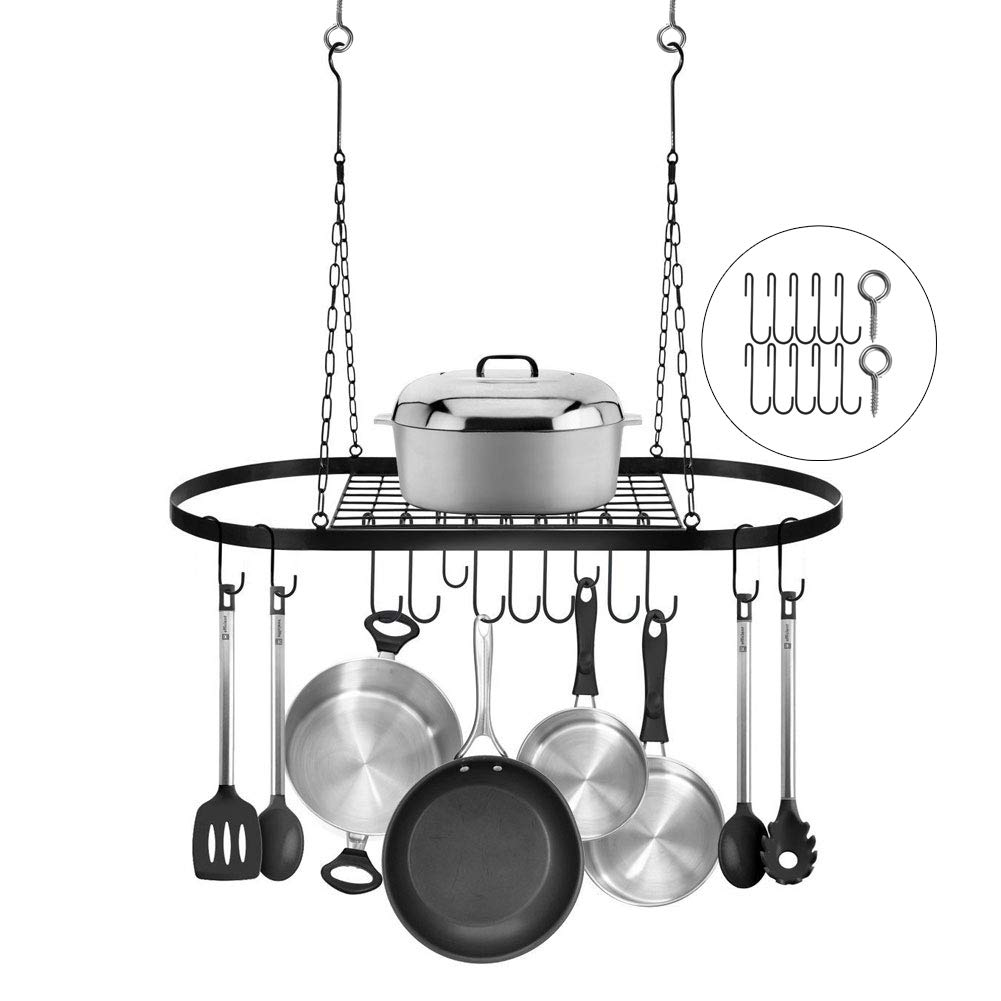 Pot Pan Rack Ceiling Wall Mounted Storage Hanging Rack Kitchen Organizer Iron Black with 10 Hooks and 2 Screws for Kitchen Cookware, Utensils, Pans, Books, Bathroom