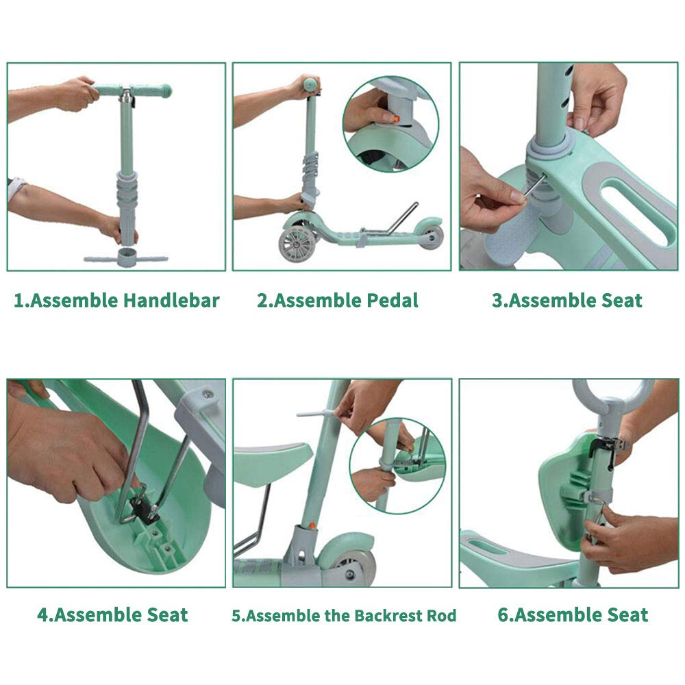 Baobë 5 en 1 niños Kick Scooter, Scooter Ajustable para niños pequeños de 1 a 6 años de Edad. Niños y niñas apoyan 50 kg. (Verde)