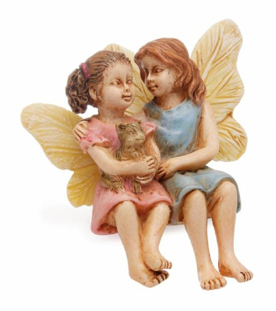 Sitting Sister Fairies with Kitten Miniature Fairy Garden Resin Figurine