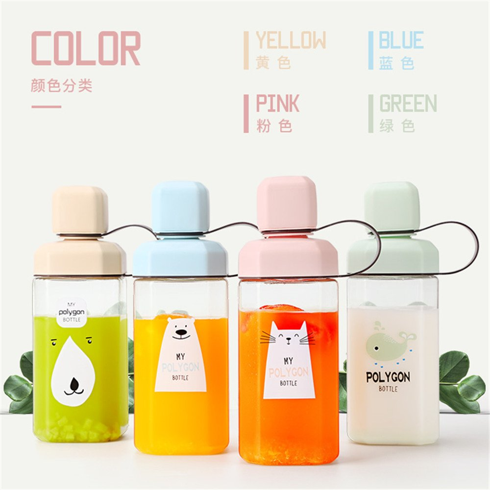 UPSTYLE Polygon Original Design Cute Animals Eco-friendly Healthy Plastic Sports Portable My Water Bottle with Colorful Lid and Tea Filter, 15.5oz(450ml) (Pink Cat)