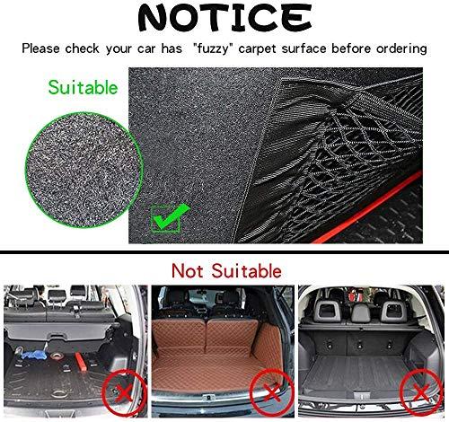 6128DNCXB8L NETUME Netztasche Auto Kofferraum Organizer Klett, 2 Stück Elastische Kofferraumtasche Netz Rücksitztasche Auto für…