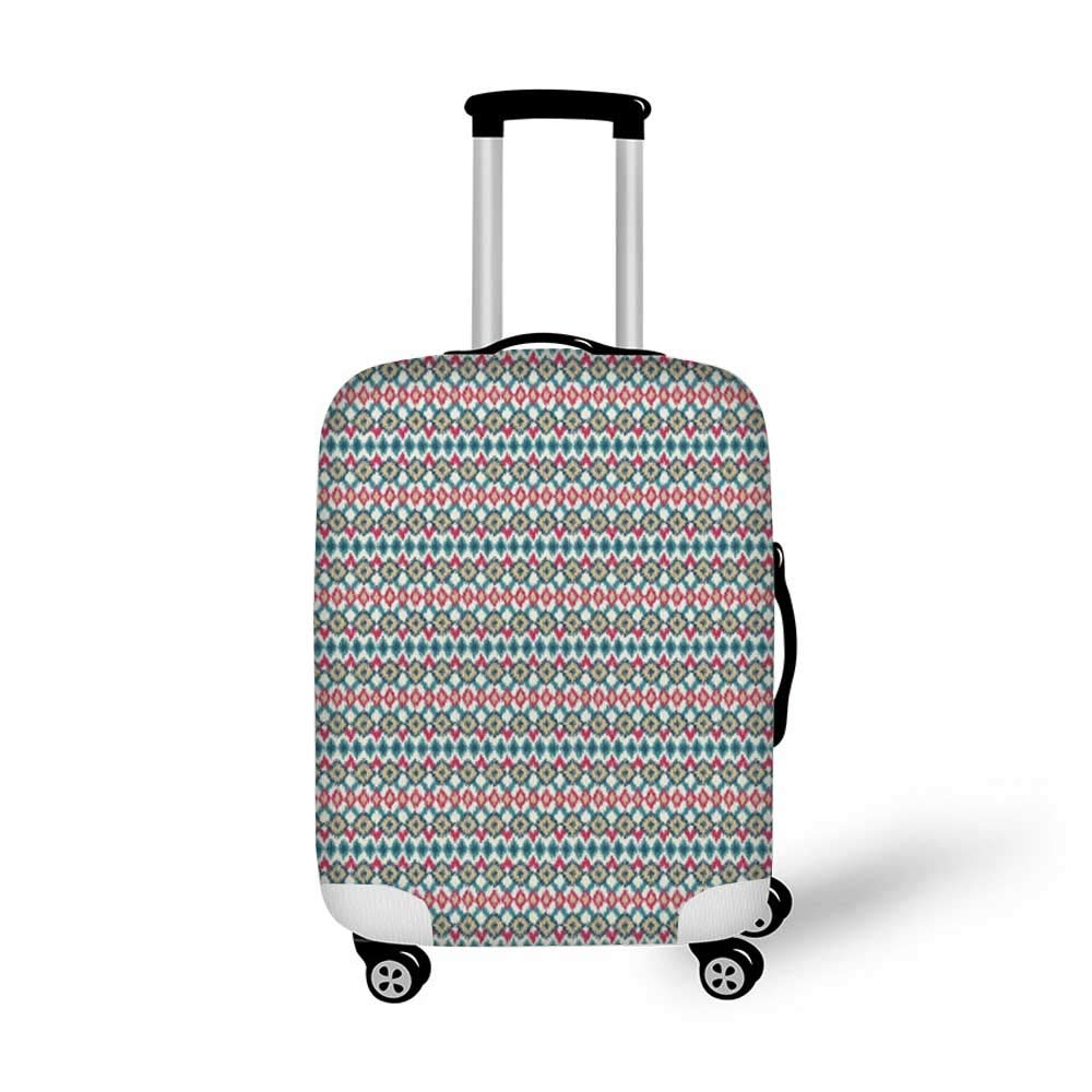 19.6W x 28.9H Ikat Stylish Luggage Cover,Circles with Dots Tribal Ornate Pattern Ethnic Vintage Design Traditional Asian Decorative for Luggage,M