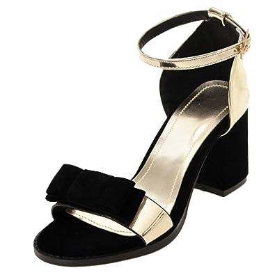 TAOFFEN Damen Schuhe Pumps Sandalen Blockabsatz