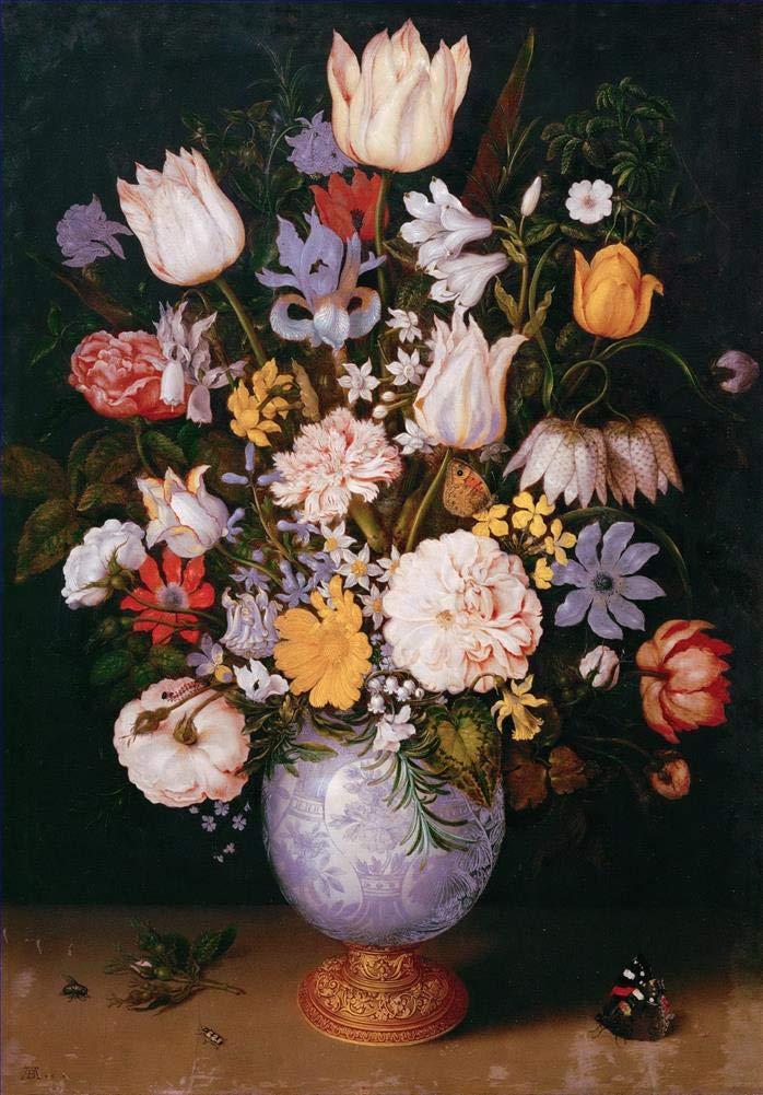 手描き-キャンバスの油絵 - Bosschaert Ambrosius Bouquet of フラワーペインティング in a 中国画 vase 芸術 作品 洋画 FRCL1 -サイズ15 B07H79KYHD  48 x 72 インチ
