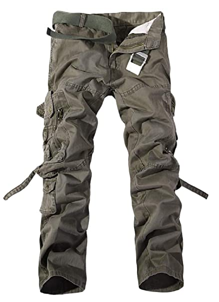 Etecredpow Mens Outdoor Travel Cargo Multi Pockets Trousers Washed Pants