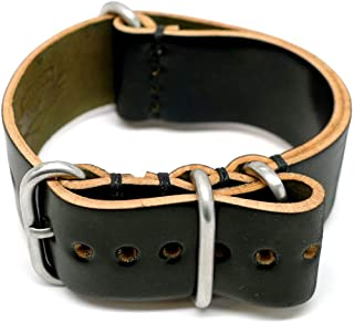 product image for DaLuca Shell Cordovan Military Watch Strap - Black (Matte Buckle) : 22mm