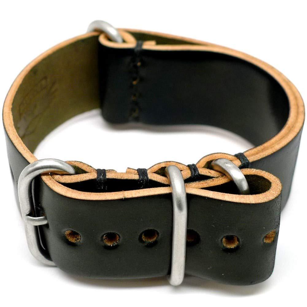 DaLuca Shell Cordovan Military Watch Strap - Black (Matte Buckle) : 20mm
