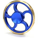 GNGTec Circle Fidget Spinner Metal Play Toy,Stainless Steel Ball Bearing,5 Mins Average Spin,Super Smooth Quiet Durable,Viget Wheel Spinner Collection for Kid and Adult (Golden Blue)