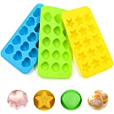 COCOCKA Silicone Candy & Chocolate Molds - Gummy Mold Set (3 x15 Cup) / Non-Stick Silicone Molds For Fat Bombs Chocolate/BPA Free/Hearts, Stars, Shells shape