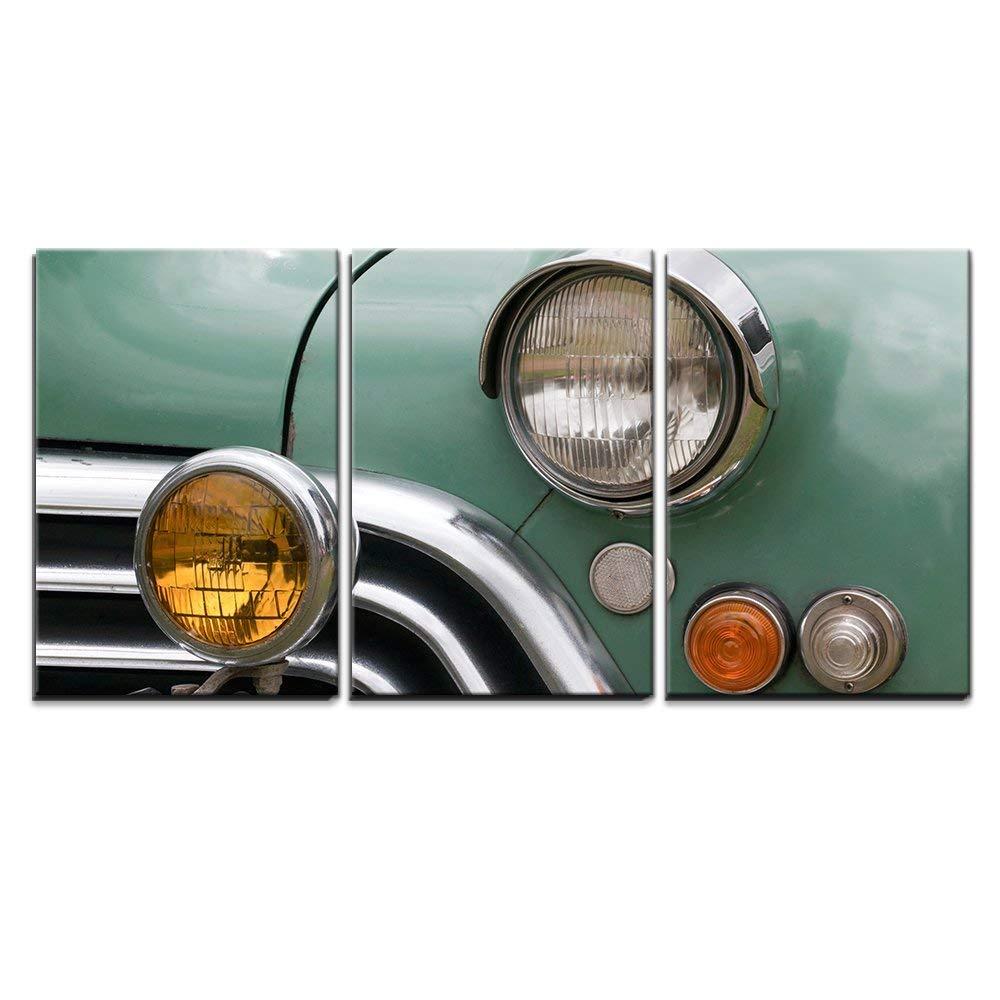Closeup Of Vintage Car Wall Decor X3 Panels Canvas Art Wall26