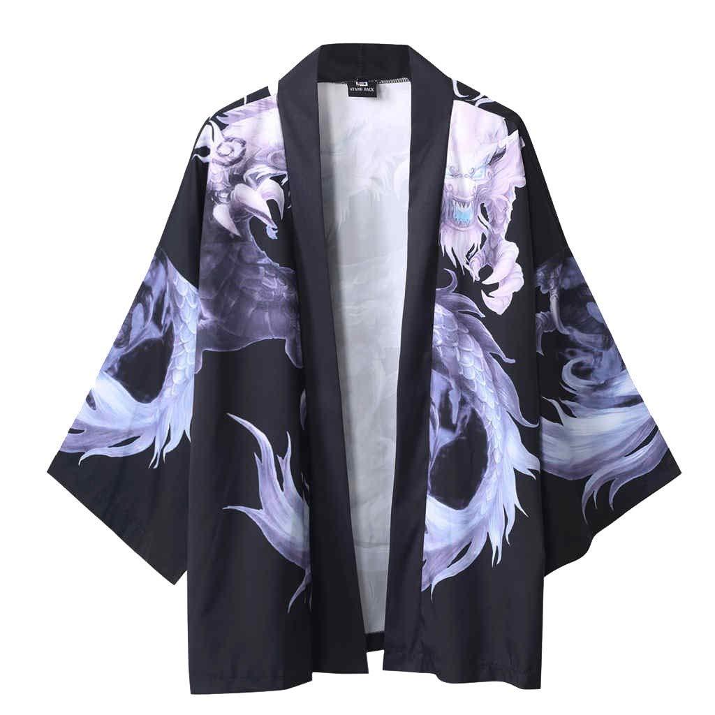 Hombre Camisa Kimono Hippie Cloak Estilo Japon/és Estampado Holgado Manga 3//4 Cardigan Chaqueta Capa Ropa Casual Abrigo B/ásico Camisetas Cuello Mao Vintage Blusa T-Shirt Top Gusspower