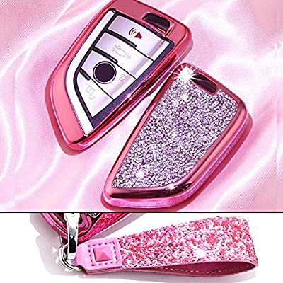 Royalfox(TM) Luxury 3 4 Buttons 3D Bling Smart keyless Entry Remote Blade Key Fob case Cover for BMW 1 2 3 5 7 M Series,BMW X1 X3 X4 X5 X6,with Keychain (Pink)