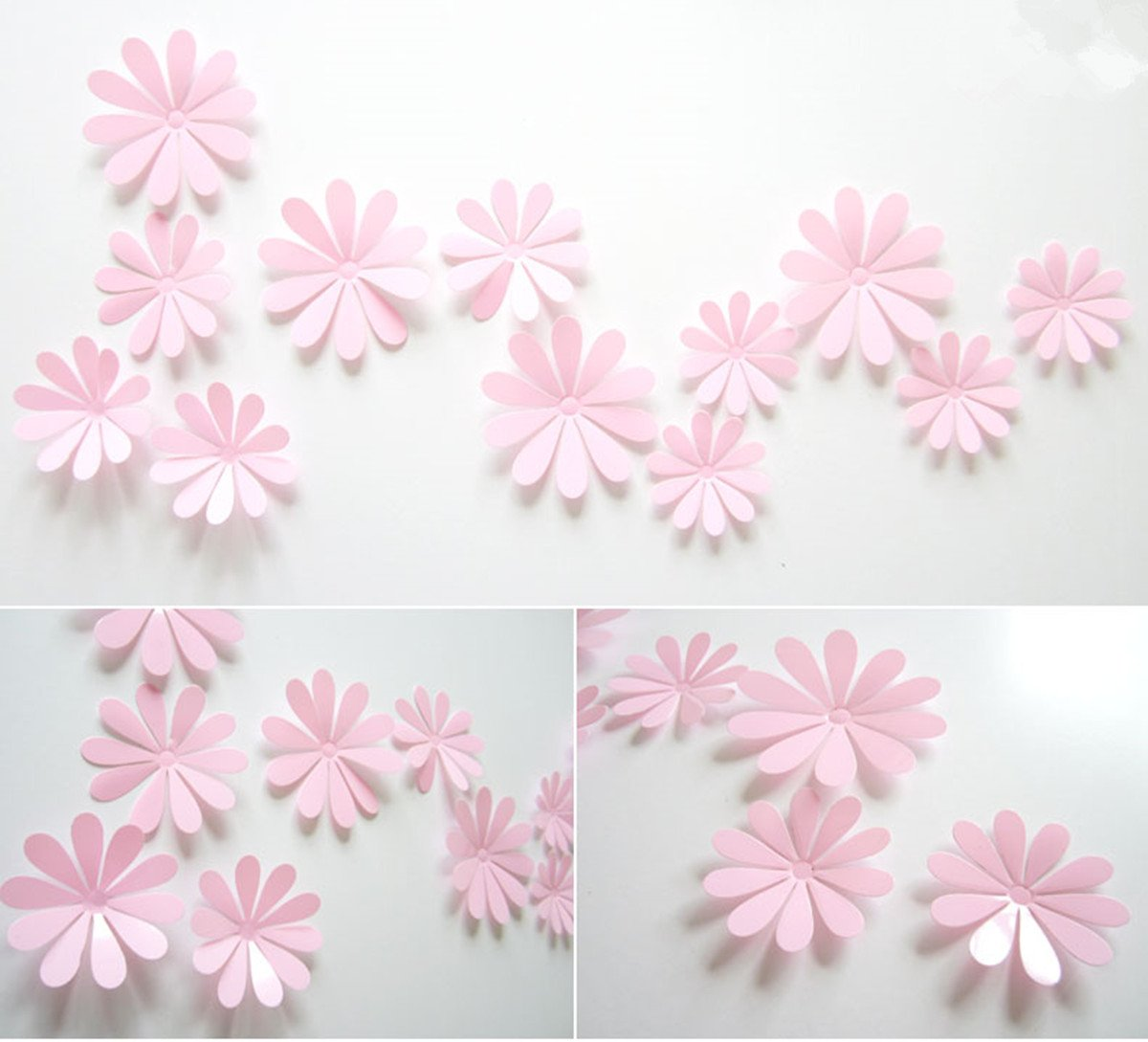 Jackie 12pcs//Pack Blue PVC 3D Decorative Flowers Decal Removable Wall Art Sticker for Home Decor and Wedding Party Decoration