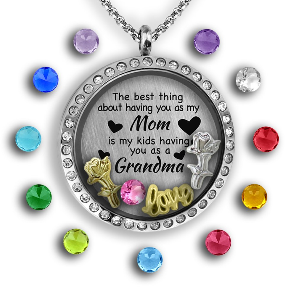 lockets steel grandma for products charms memory baby teardrop or mom feet floating locket necklace personalized stainless bcdd gift