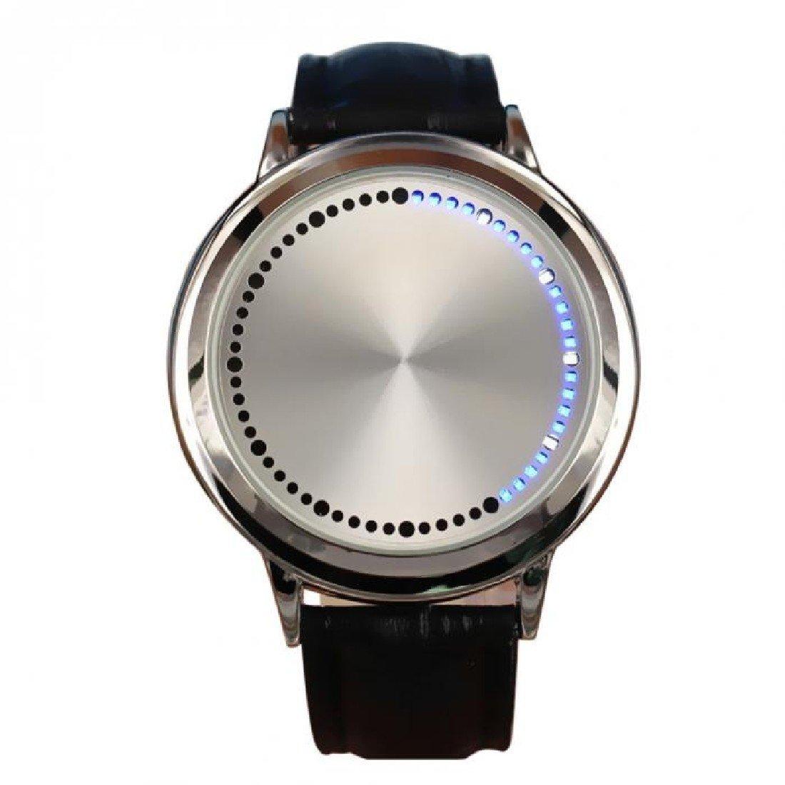 Unisex Pantalla táctil funda de piel banda reloj de pulsera deportivo reloj de pulsera LED intermitente blanco: Amazon.es: Relojes