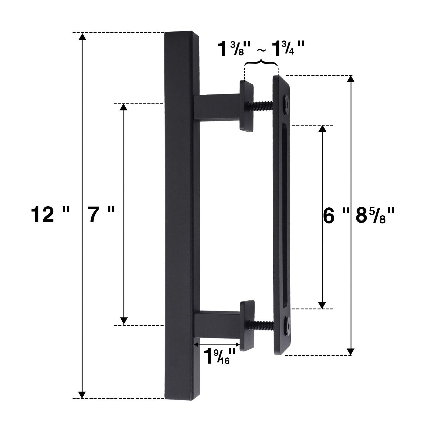 EaseLife 2Pcs 12'' Sliding Barn Door Handle with Pull Flush Set,for Gate Kitchen Furniture Cabinet Closet 2/Pack,Square by EaseLife (Image #5)